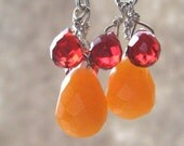 Delicates Collection Orange Jade and Red Sapphire Earrings