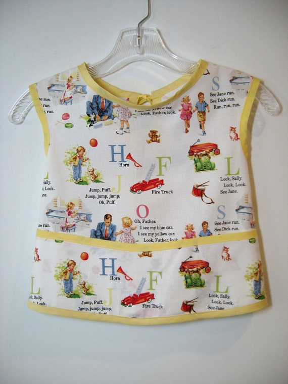 Child Art Smock - Apron - First Day of PreSchool - Michael Miller's Dick and Jane - Size 2 to 4T