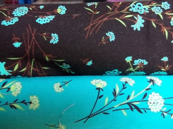 SHOP CLOSING - Rachel's Destash - Exclusively Quilters 2 Yard Bundle of Brown & Aqua Shadow Prints