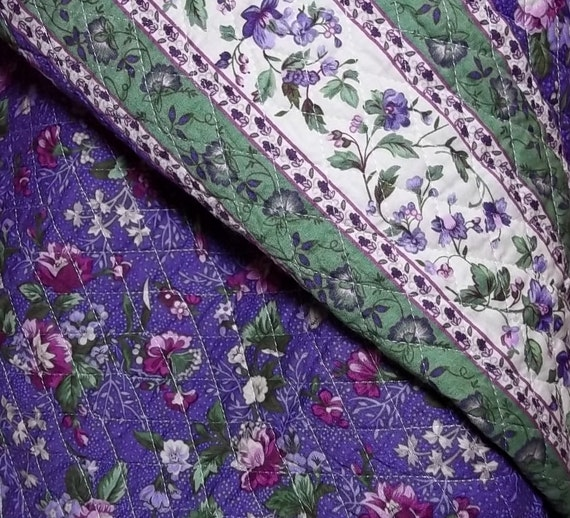Rachel's Destash - Double Quilted Cotton Fabric - Purple and Green Floral