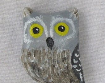 Screech Owl Brooch Pin Woodland Animal