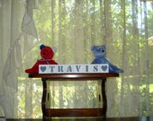 Baby Name Blocks Travis Country Blue free shipping in USA choose any 2 symbols included with set   baby shower  holiday gift