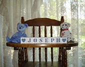 Baby Blocks Joseph Country Blue free shipping in USA choose any 2 symbols included with set   baby shower birthday welcome baby holiday gift