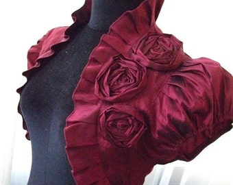 BURGUNDY WINE bordeaux silk bridal bolero jacket shrug wedding shrug wedding bolero jacket bridal shrug