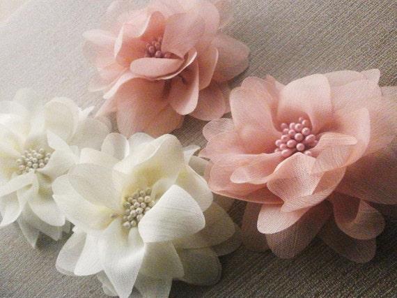 DOMINIKE pale pink shiffon flower hair clip shiffon flower brooch hair flower fabric flower hair clip pale pink flower