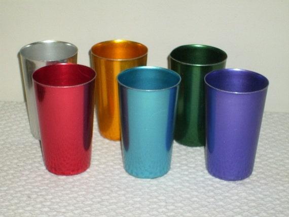 Vintage Set Of Six Aluminum Bascal Glasses
