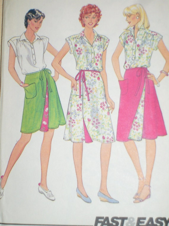 Vintage Butterick 4299 Sewing Pattern, Blouse And Front Wrap Skirt, Sizes 12, 14, And 16, Factory Folded