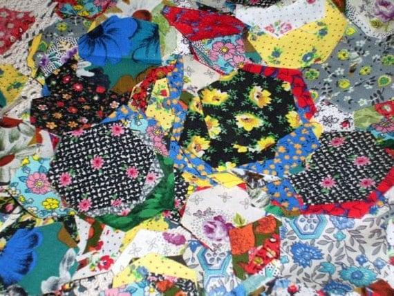 Grandmother 39 s flower garden precut quilt pieces 690 for Grandmother flower garden quilt pattern variations