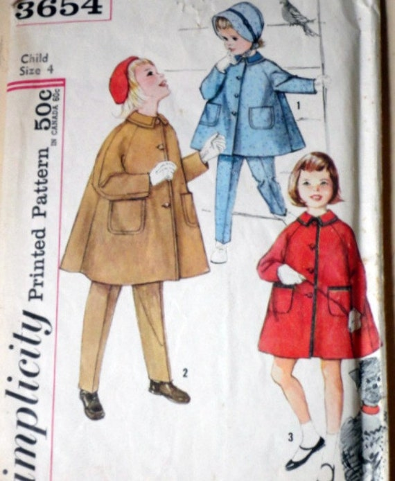 Vintage Simplicity 3654 Sewing Pattern, Child's Coat, Tapered Pants And Hat, Size 4
