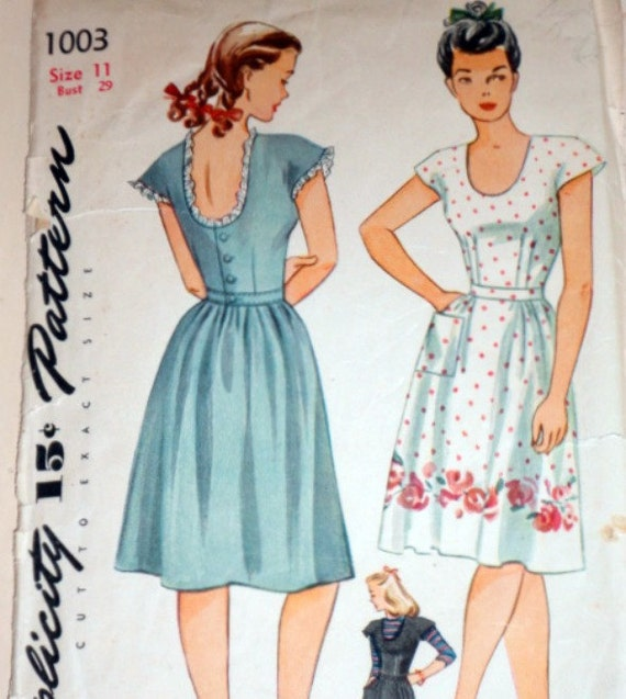 Vintage 1940's Simplicity 1003 Sewing Pattern, Sundress And Jumper, Size 11, 29 Bust
