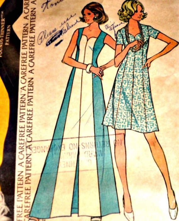 "Vintage 1970s McCall's 2680 Sewing Pattern, Dress In Two Lengths, Size 12, 34"" Bust"