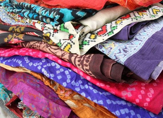 Silk Sari Fabric Used Bundle for Nuno felting or Silk Saree Ribbon , Events,  Upcycling For Fiber Arts, Clothes 11 LBS