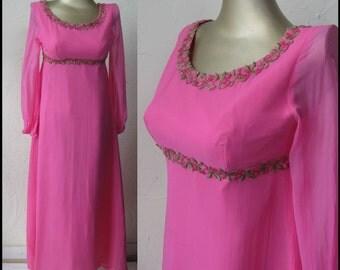 Vintage 60s/70s Maxi Dress, Hot Pink Chiffon & Floral Applique. XS/S