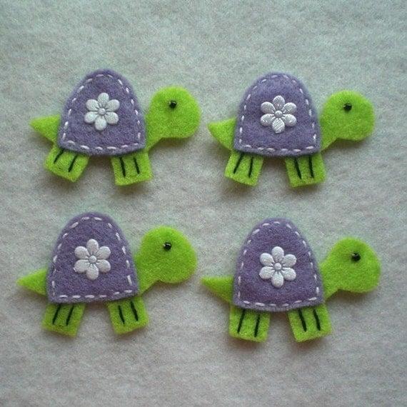 Handmade turtle felt applique neon green by - Applique neon design ...