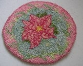 Pink Poinsettia Hooked Doll house Rug