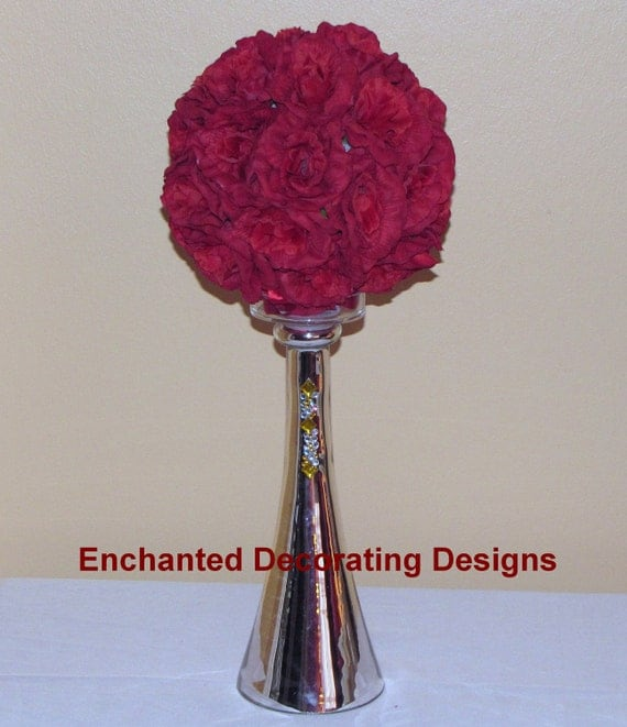Wedding centerpiece  Pomander Ball topiary Silver Glass vase Wedding Flower  Kissing Ball Centerpiece wedding flowerball wedding centerpiece