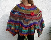 Persimmon and wild Berries Wool and Silk one of a kind Freeform Crochet Poncho