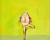 Humpty Tree Pose - original painting, original art, small painting, one of a kind