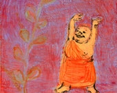 Grateful Buddha - red/lavender - original painting, small painting, original art, one of a kind - wantknot shop