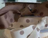 NEW-Ribbon Dotted  7/8 inches grosgrain MOCHA/BROWN 5 yards for 1.99