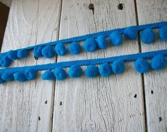 Pom Pom Trim-Turquoise-2 yards-1/2 inch ball