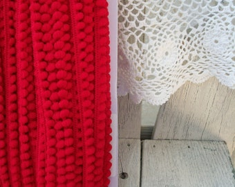 BABY BALL Fringe Red 10mm 1/4 inch-3 yards