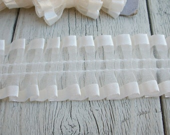 Cream Ribbon Edged Sheer Gathered Trim-2 yards