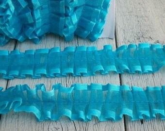 Turquoise Ribbon Edged Sheer Gathered Trim-2 yards