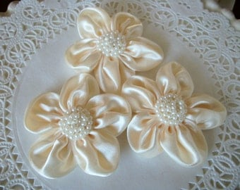 Satin Flower with Pearl Center-set of 3 ivory, white, or pink