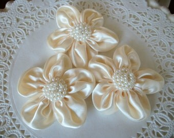 IVORY Satin Flower with Pearl Center-set of 3