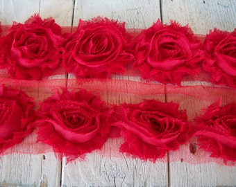 Shabby Chic RED Rose Trim on Net-2 1/2 inch- 1 yard