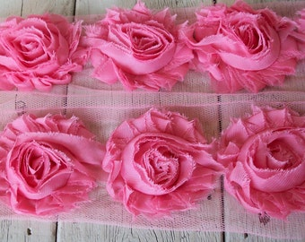 Shabby Chic WATERMELON  PINK Rose Trim on Net-2 1/2 inch- 1 yard