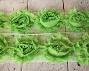 Shabby Chic LIME GREEN Rose Trim on Net-2 1/2 inch- 1/2 yard