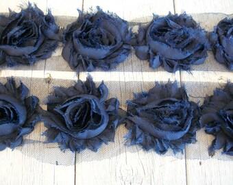 Shabby Chic NAVY BLUE Rose Trim-2 1/2 inches-1/2 yard and 1 yard