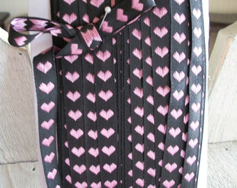 BLACK with PINK HEARTS Jacquard  Ribbon Trim 1/2 inch wide-3 yards