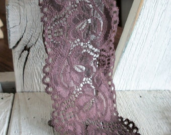 WIDE Stretch Lace BROWN-2 3/4 inch -2 yards for 3.69