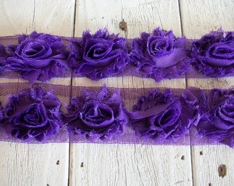 Shabby Chic New PURPLE  MINI Rose Trim on Net-1 1/2 inch- 1/2  yard
