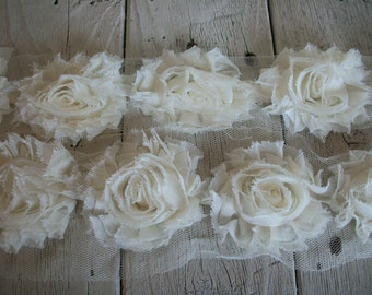 Chiffon Shabby Chic Rose Trim in IVORY -2 1/2 inch Flower-1 yard