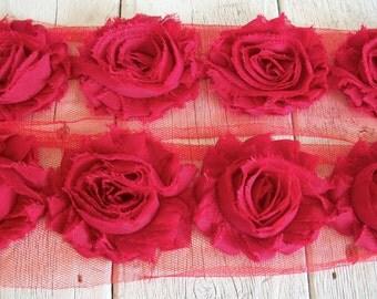 Chiffon Shabby Chic Rose Trim in RED-2 1/2 inch- 1 yard