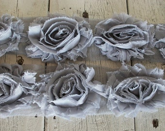 Shabby Chic GRAY Rose Trim on Net-2 1/2 inch- 1  yard