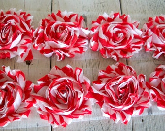 99 CENTS--Shabby Chic RED/WHITE Stripe Trim-2 1/2 inches-1 yard