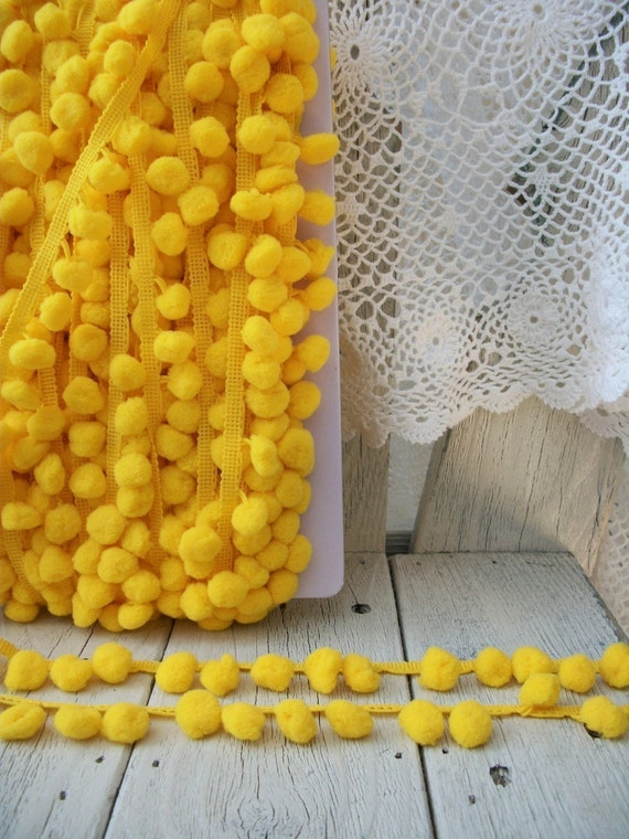 RESERVED for AFKE ONLY-Pom Pom Trim-Lemon Yellow-2 yards-1/2 inch Ball