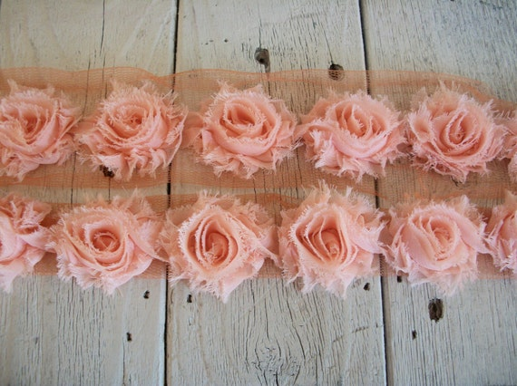 Shabby Chic PEACH MINI Rose Trim on Net-1 1/2 inch- 1 yard