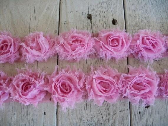 Shabby Chic PINK MINI Rose Trim on Net-1 1/2 inch- 1 yard