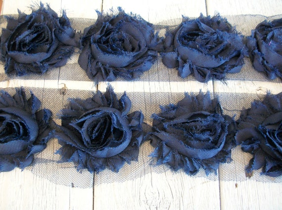 Shabby Chic NAVY BLUE Rose Trim-2 1/2 inches-1/2  yard