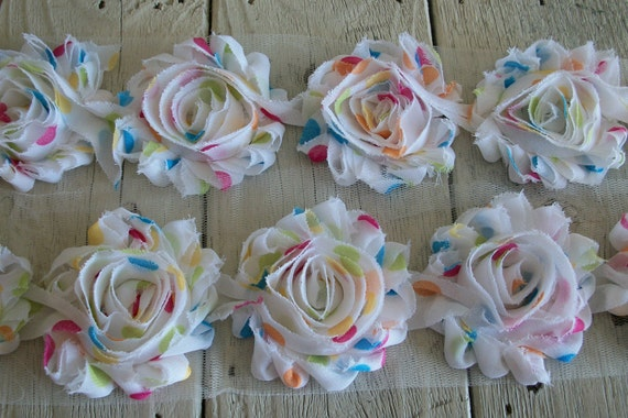 Shabby Chic WHITE with BRIGHT DOTS  Rose Trim-2 1/2 inches-1/2 yard