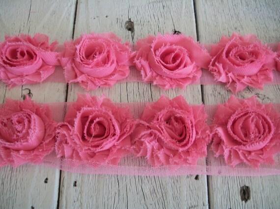 Shabby  WATERMELON Pink Mini Rose Trim on Net-1 1/2 inch-1 yard