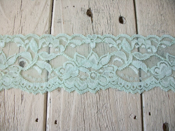 WIDE Stretch Lace MINT GREEN no. 399-2 inch -2 yards for 2.99