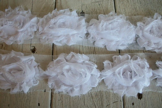 Shabby Chic WHITE Rose Trim on Net-2 1/2 inch- 1/2 yard