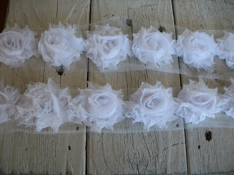 Shabby chic white mini rose trim on net 1 1 2 inch 1 yard for Shabby chic yard